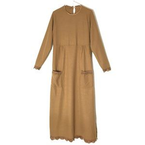 House Dress NEW Felt Knit Maxi Lace Brown Ugly S